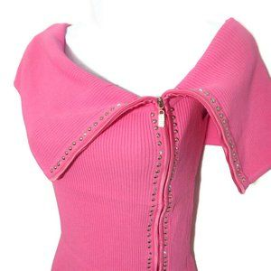 Cache Knit Top Full Zip Ribbed Stud Rhinestone M